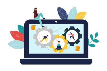 Vector illustration, online assistant at work. Search for new solutions ideas, teamwork in the company, brainstorming. Illustration