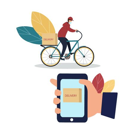 Coronavirus epidemic. Delivery service. A courier in a protective mask on a bicycle delivers goods and food to people in quarantine. Vector illustration.
