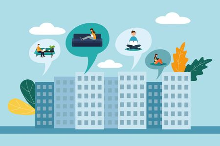 Vector creative illustrations of distance learning, online learning, distant work. Flat style.