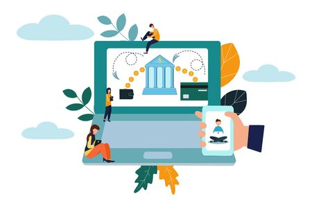 Online money transfer. People send money via smartphone. internet banking. worldwide payment. Flat vector illustration