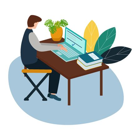 Vector illustration, online courses for employees, people sit at the conference and look at the big screen, analysis of infographics. Flat style.