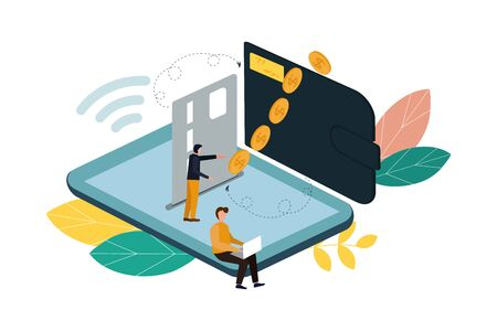 Money transfer between wallet and smartphone, flat styling. Vector illustration of online payment, money transaction. 矢量图像