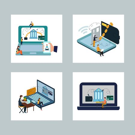 The concept of mobile banking and online payments. Icon set. Flat cartoon style. Vector illustration