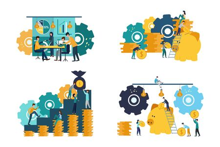 A collection of scenes in the office. Many men and women take part in business meetings, negotiations, people earn money, achieve goals. Colorful vector illustration in flat cartoon style.
