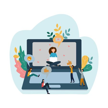 Popular blogger. The girl is blogging. Subscribers like. Vector illustration in a flat style