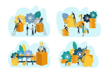 Set of business concept illustrations. Business people, businessmen, stock market participants. Invest.