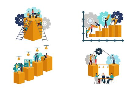 Set of business concept illustration. Business people, businessmen. New ideas. Teamwork, training. Vector illustration in a flat style.