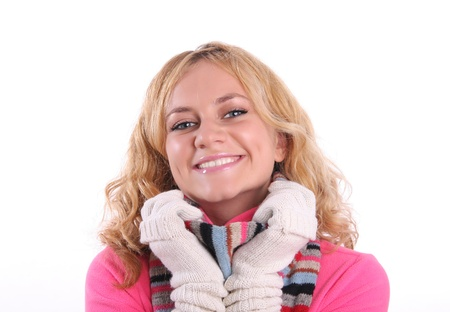 Happiness girl in warm clothes 2 Stock Photo - 9238111