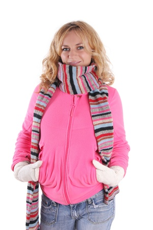 Happiness girl in warm clothes 3 Stock Photo - 9238131
