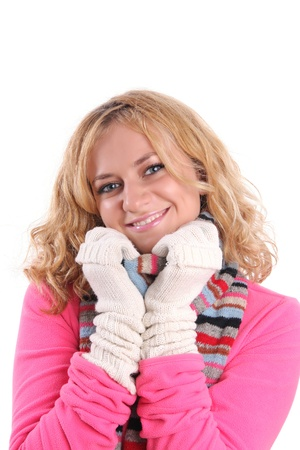 Happiness girl in warm clothes photo