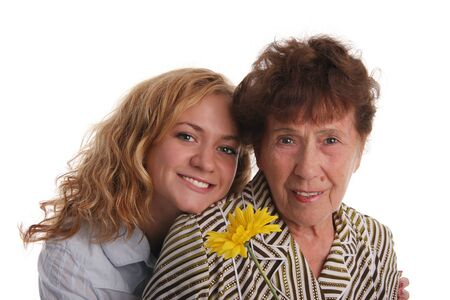 Happiness grandmother and granddaughter on a white background 2 Stock Photo - 9238123