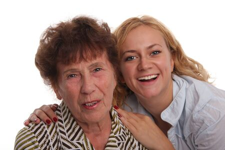Happiness grandmother and granddaughter on a white background Stock Photo - 9238121