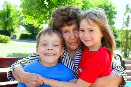Happiness grandmother and grandchild in the park. Series Stock Photo - 9266688