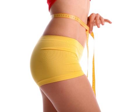 measuring instrument: Women measures a waist Stock Photo