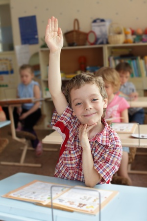 Happiness boy in school class. Series Stock Photo - 9289870
