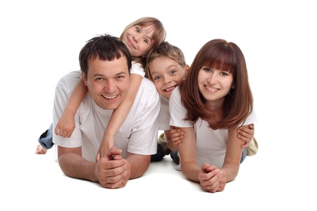 Happiness family on the white background Stock Photo - 9289760