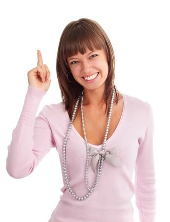 dedo indice: Joven feliz muestra un dedo �ndice hacia arriba