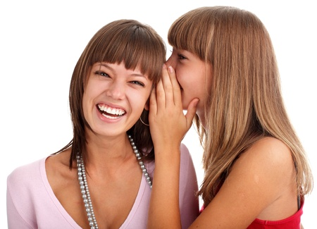 woman tells to the girlfriend good news photo