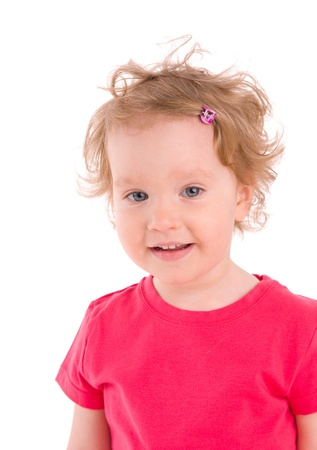 Beautiful little girl on the white background Stock Photo - 9397888