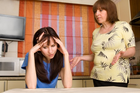veszekedés: Conflict between mum and daughter at home. Search many conflicting people in my portfolio