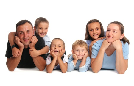 Happiness family having many children photo