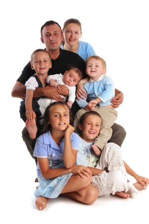 Happiness large family with five children Stock Photo - 9397849