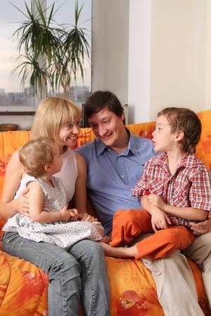 Happy family of the house on a sofa 6 Stock Photo - 9397965