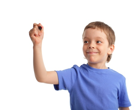 left handed: boy in primary school education on white background Stock Photo