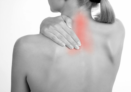 Woman holds a hand on pain neck. Backache Stock Photo - 9397832