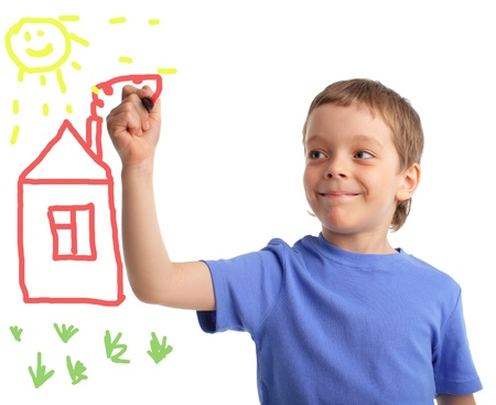 left hand: Boy draws the house on white background