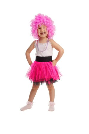 Beautiful little girl in pink wig isolated on white Stock Photo - 9626904