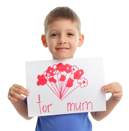 child holding sign: Son has drawn drawing for mother Stock Photo