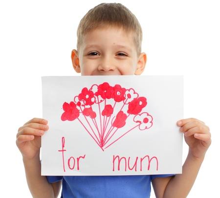 madre e hijo: Dibujo para mam� en un d�a de promotor de Foto de archivo