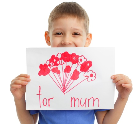 mother and son: Drawing for mum on a moters day Stock Photo