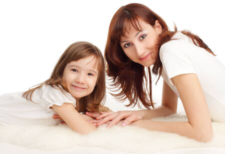 Mother with daughter isolated on white Stock Photo - 10297566