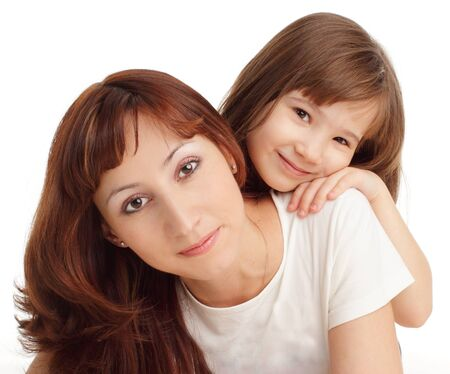 Mother with daughter isolated on white Stock Photo - 10297559