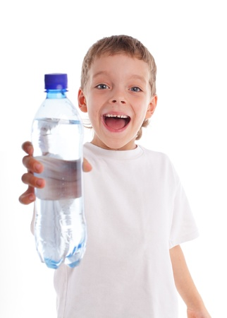 �hild with a water bottle isolated on white photo