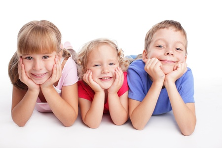 Happy children isolated on a white background Stock Photo - 9627082