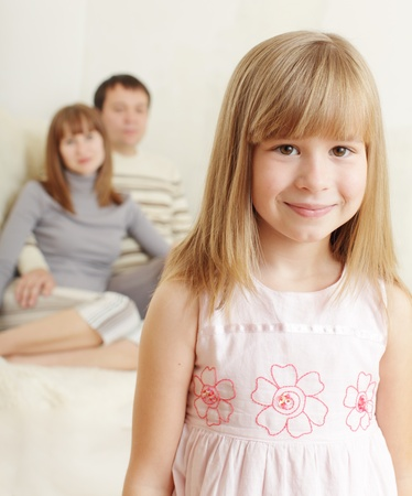 little girl posing: Girl at flat wiht parent