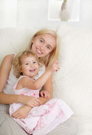 Happy mother with a daughter at home Stock Photo - 9626144