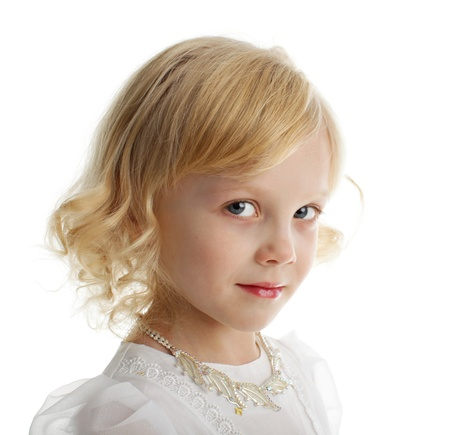 only girls: Beautiful little girl isolated on white background Stock Photo