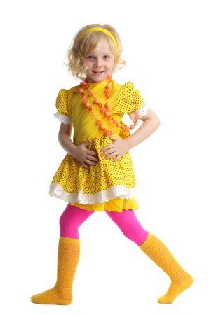 sundress: Beautiful little girl in yellow sundress Stock Photo