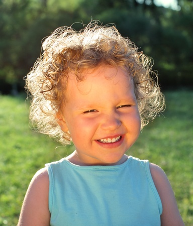 Beautiful happiness curly girl photo