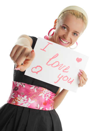 Beautiful woman congratulates with valentins day photo