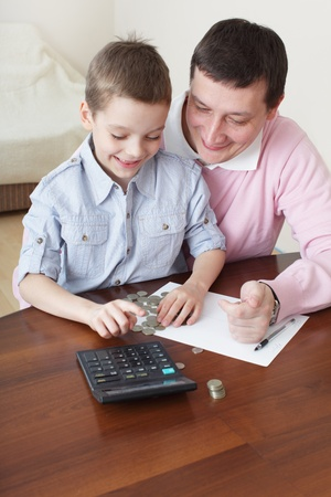 wealth management: Father training the son to the finance. Series