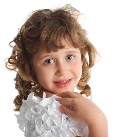 Beautiful little girl isolated on white Stock Photo - 10291840