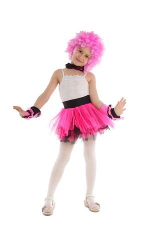 little models: Hermosa ni�a en traje de color rosa