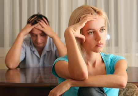 couple arguing: Conflict between the man and the woman Stock Photo