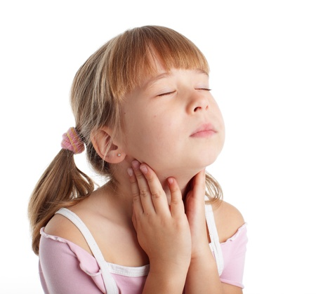 caucasian fever: Throat is ill the girl