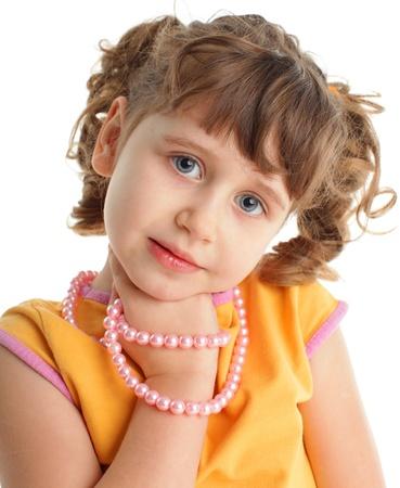 Beautiful little girl isolated on white background Stock Photo - 10998420